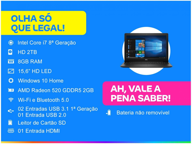 """Notebook Dell Inspiron i15-3583-A30P Intel Core i7 - 8GB 2TB 15,6"""" Placa de Vídeo 2GB Windows 10 - Bivolt - 1"""