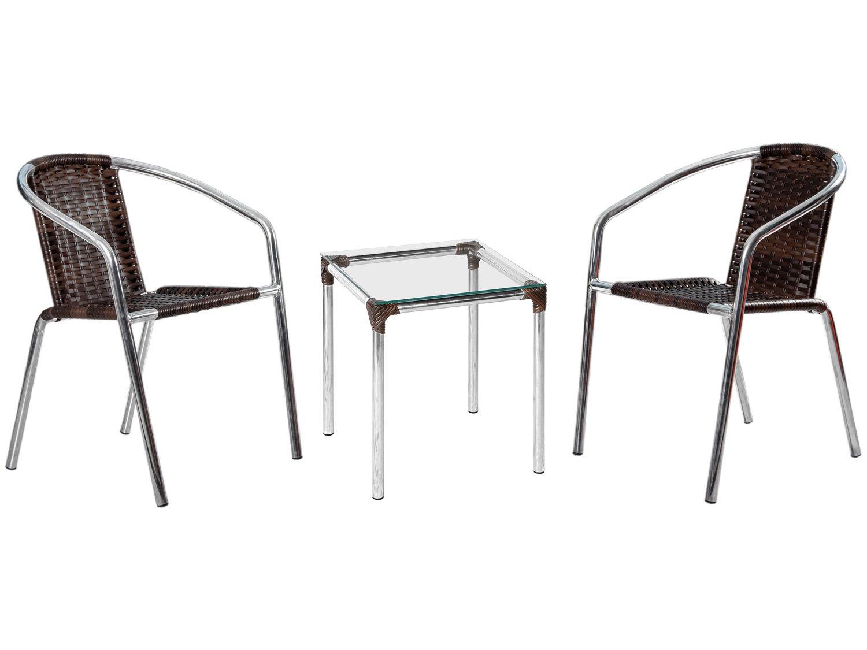 Foto 1 - Conjunto de Mesa para Área Externa Alumínio - 2 Cadeiras Alegro Móveis Angélica
