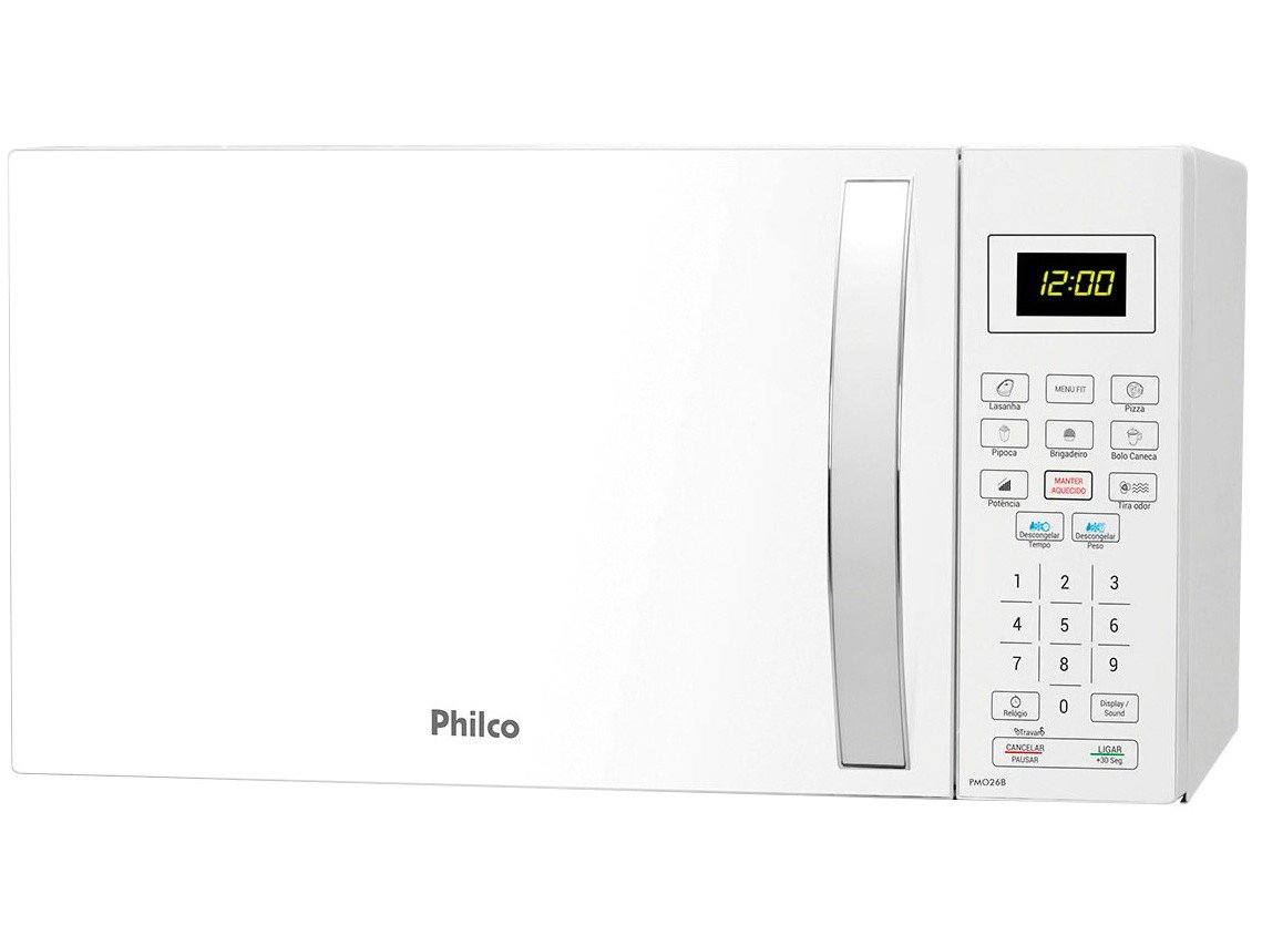 Forno de Micro-ondas Philco PMO26B com Teclas Fáceis Branco - 26L - 110v