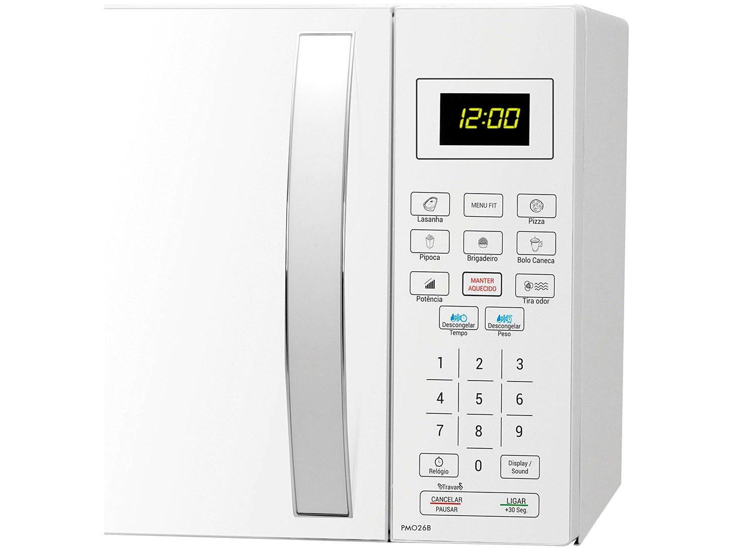 Forno de Micro-ondas Philco PMO26B com Teclas Fáceis Branco - 26L - 110v - 3