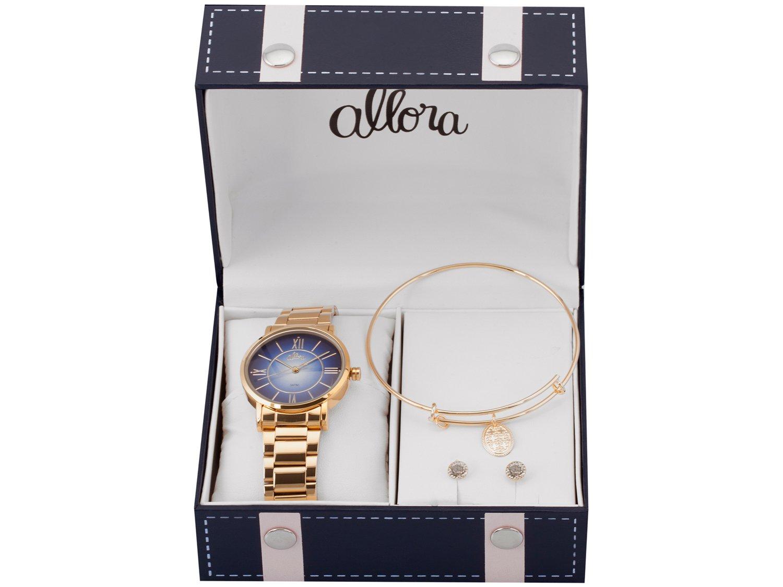 Relógio Feminino Allora Analógico AL2035FOE/K4A - Dourado com Brinco e Pulseira