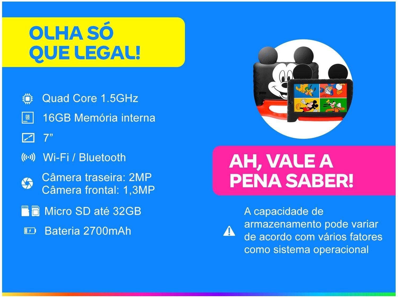 "Tablet Infantil Multilaser Mickey Plus com Capa - 16GB 7"" Wi-Fi Android 8.1 Quad Core Câm. 2MP - Bivolt - 1"