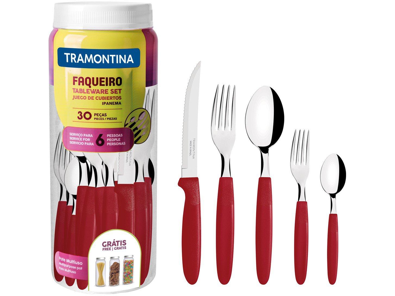 Faqueiro Inox Tramontina Ipanema Vermelho 30 Peças - 3