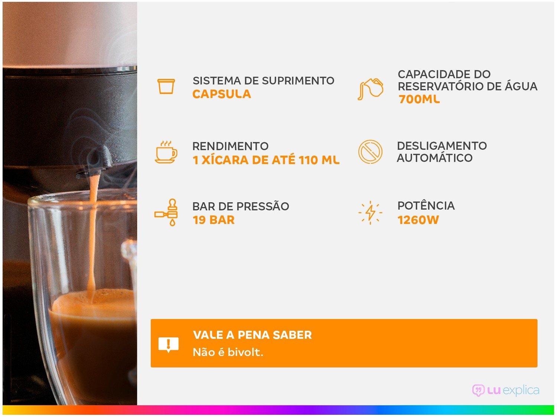 Cafeteira Expresso Pixie Nespresso de Cápsula - Vermelha 19 Bar - 110 V - 1