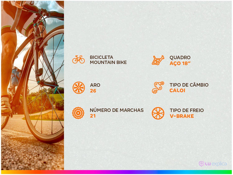 Bicicleta Aro 26 Mountain Bike Caloi Montana - Freio V-Brake 21 Marchas - 3