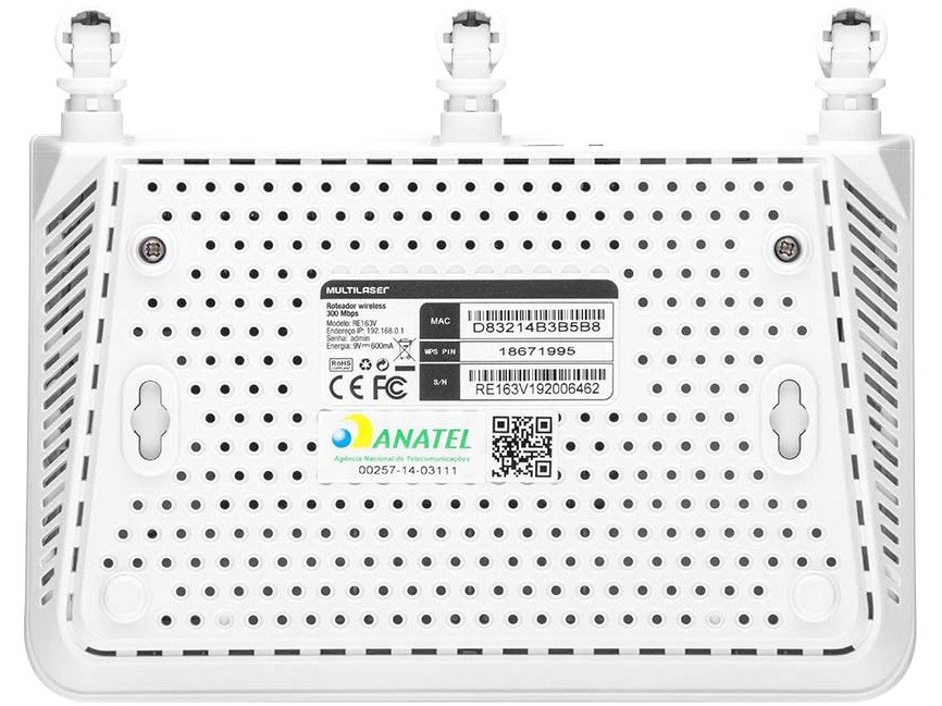 Roteador Multilaser RE163V 300Mbps Wireless N 3 Antenas 4 Portas - 7