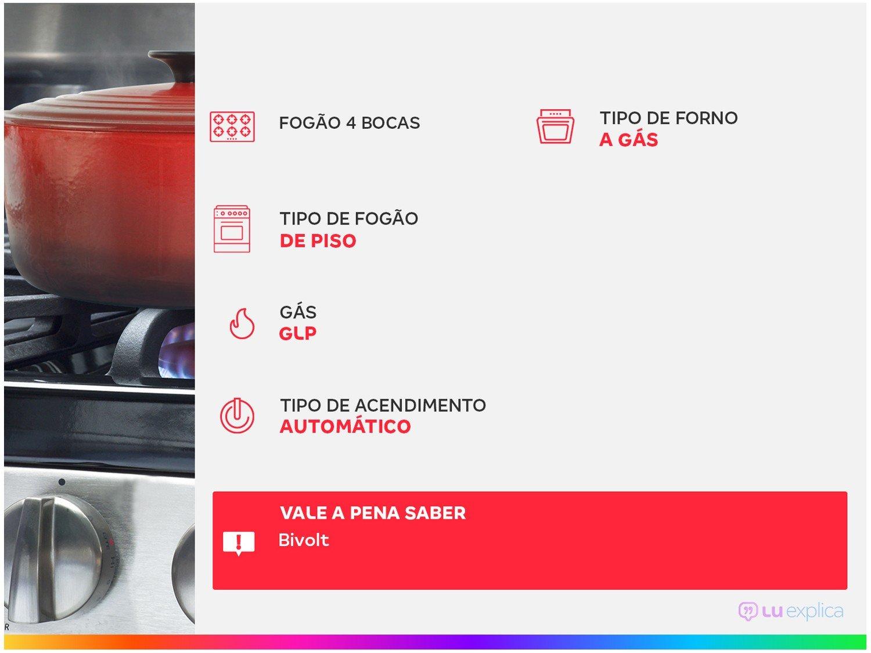 Fogão Electrolux 4 Bocas 56LBU com Queimadores Robustos – Branco - 1