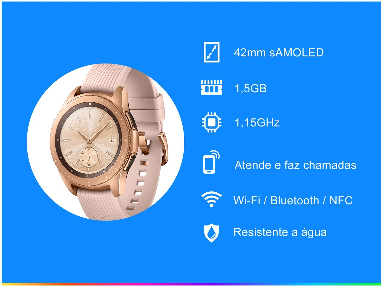 Smartwatch Samsung Galaxy Watch LTE Rose - 4GB - Bivolt - 1