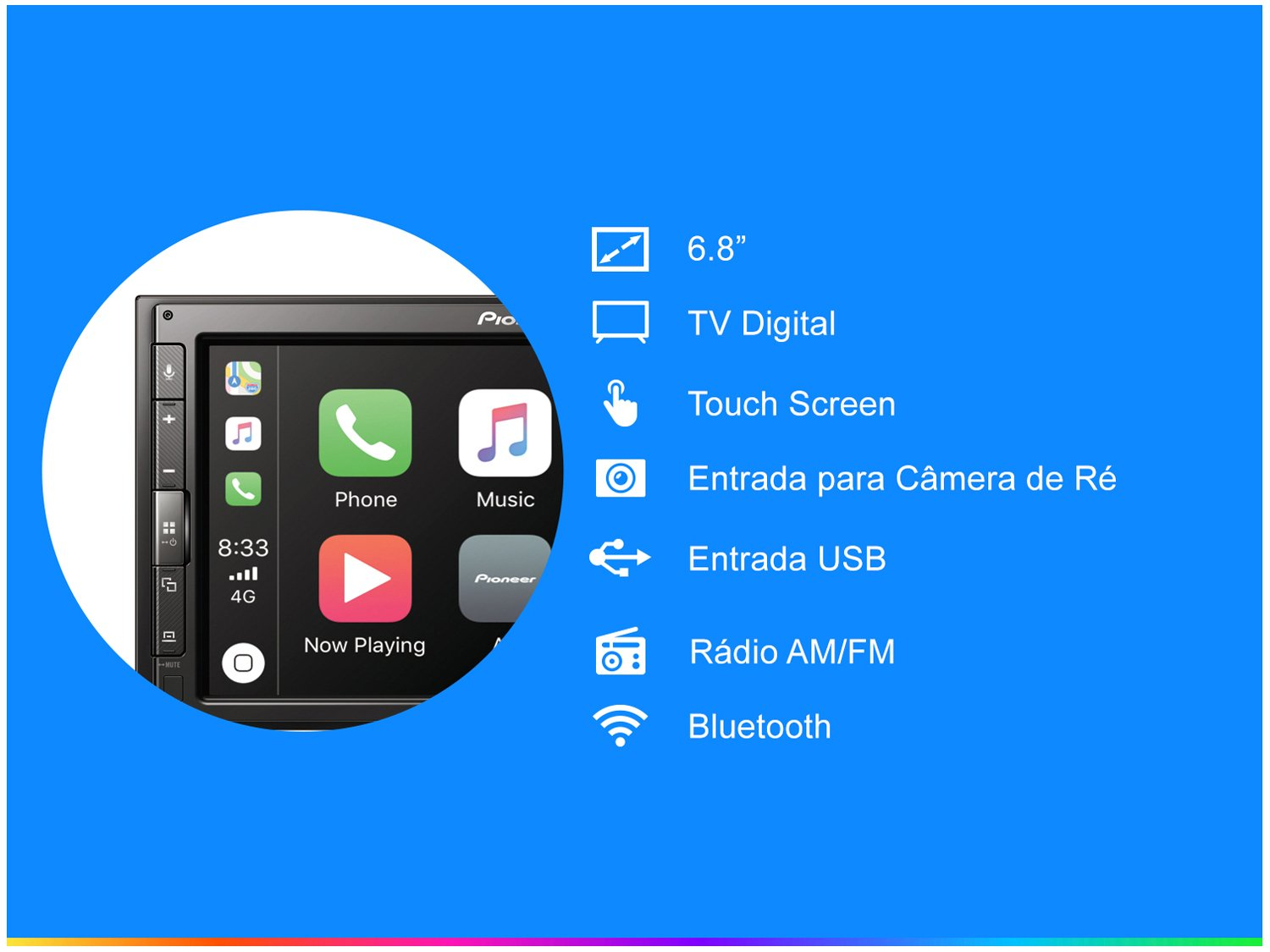 """Central Multimídia Pioneer DMH-ZS5280TV - Bluetooth Touch 6,8"""" USB - 4"""