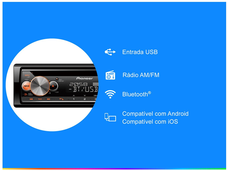 Som Automotivo Pioneer CD Player Bluetooth - USB Auxiliar DEH-X5000BR - 4