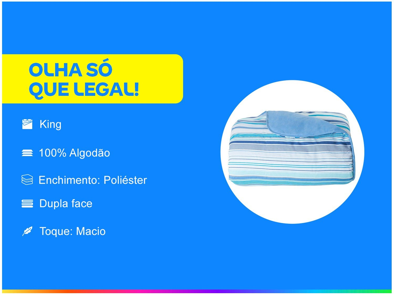 Edredom King Santista Royal Plus Onam 100% Algodão 240x280 cm – Azul - 4