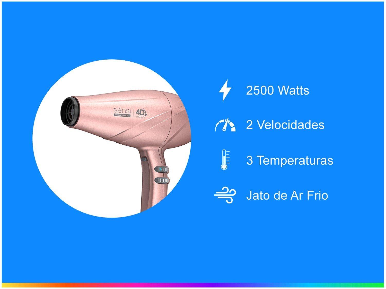 Secador de Cabelo Profissional Ga.Ma Italy - Sensi 4D Therapy Rosa Metálico 2500W 2 Velocidades - Bivolt - 2
