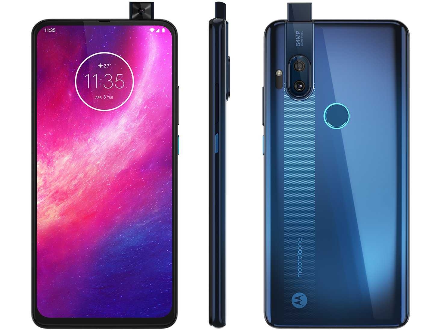 "Smartphone Motorola One Hyper 128GB Azul Oceano - 4G 4GB RAM 6,5"" Câm. Dupla + Câm Selfie 32MP"