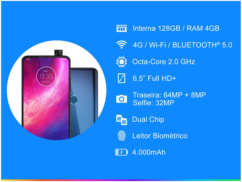 "Smartphone Motorola One Hyper 128GB Azul Oceano - 4G 4GB RAM 6,5"" Câm. Dupla + Câm Selfie 32MP - 4"