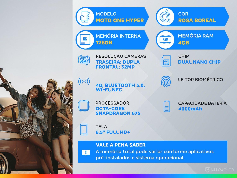 """Smartphone Motorola One Hyper Rosa Boreal 128GB, Tela Total Vision 6.5"""", Câmera Traseira Dupla, Câmera Selfie Pop-Up de 32MP, Processador Qualcomm - 5"""