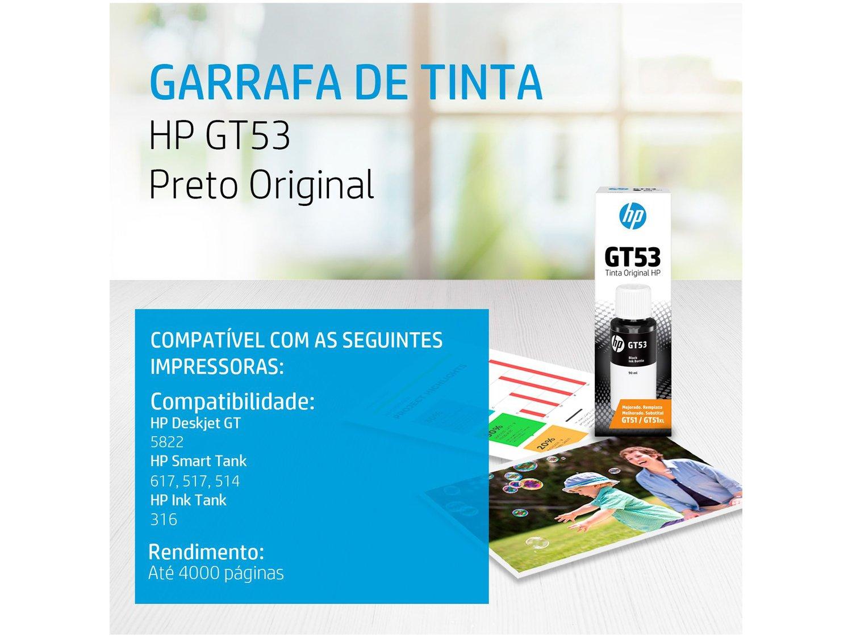 Garrafa de Tinta HP GT53 Preto - Original - 1