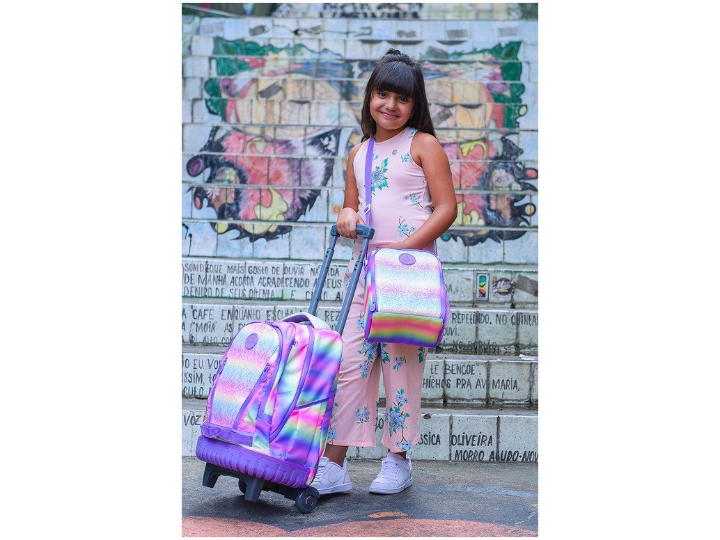 Conjunto Mochila Infantil com Rodinhas + Lancheira Xtrem Glíter – 2 Peças - 11