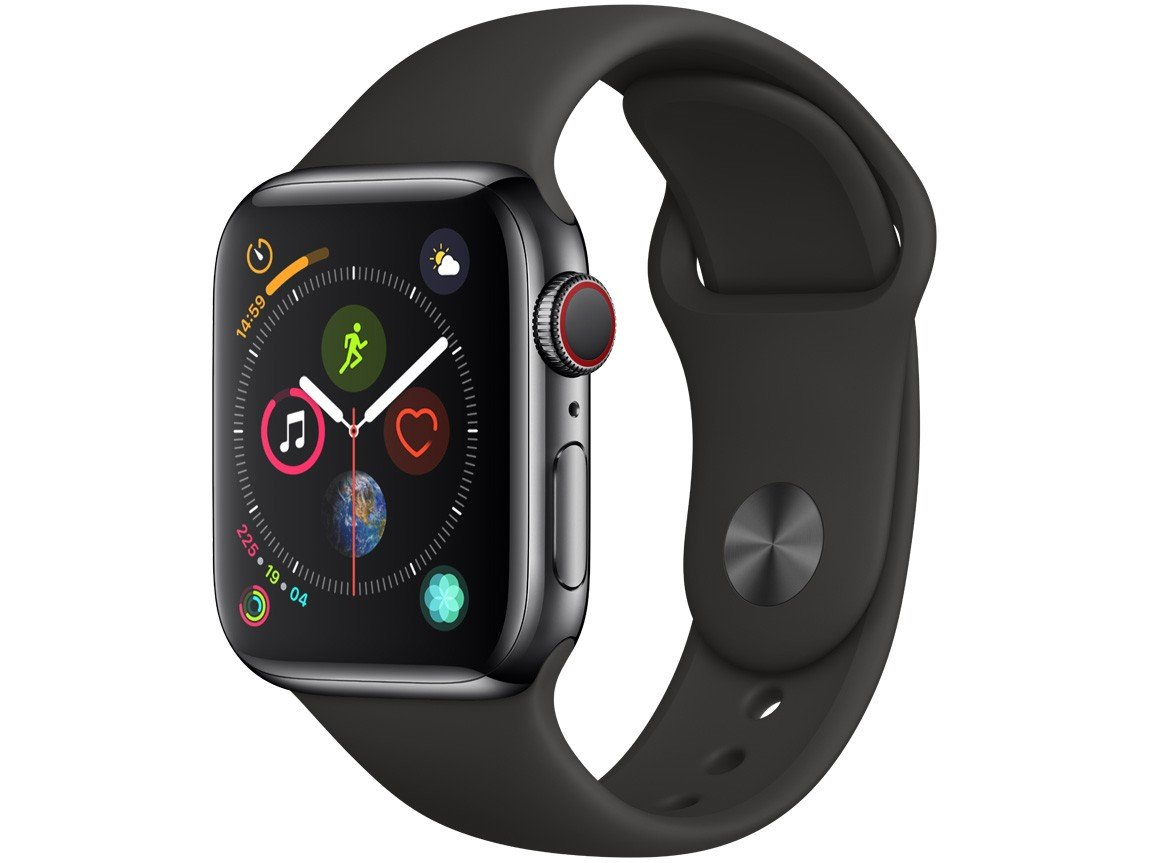 Apple Watch Series 4 (GPS + Cellular) 40mm - Caixa Preto-Espacial Pulseira Esportiva Preta