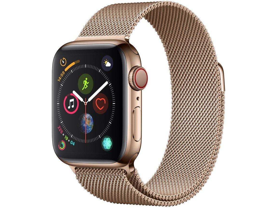 Apple Watch Series 4 (GPS + Cellular) 40mm - Caixa Dourada Pulseira Estilo Milanês Dourada