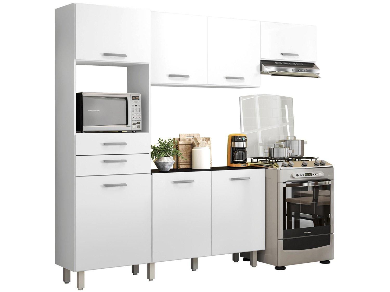 Kit Cozinha Poliman Móveis Lia D15200 com Balcão - Nicho para Micro-ondas com Tampo 2 Gavetas