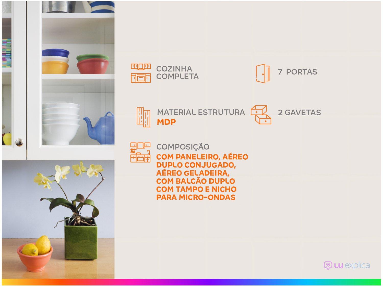 Kit Cozinha Poliman Móveis Lia D15200 com Balcão - Nicho para Micro-ondas com Tampo 2 Gavetas - 1