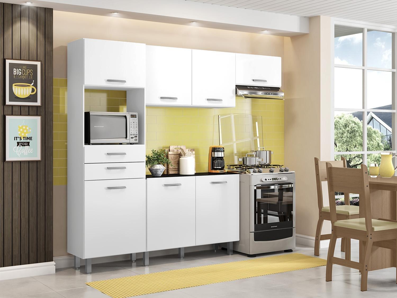 Kit Cozinha Poliman Móveis Lia D15200 com Balcão - Nicho para Micro-ondas com Tampo 2 Gavetas - 2