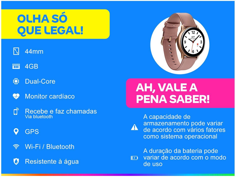 Smartwatch Samsung Galaxy Watch Active2 LTE - Rose 4GB - Bivolt - 1