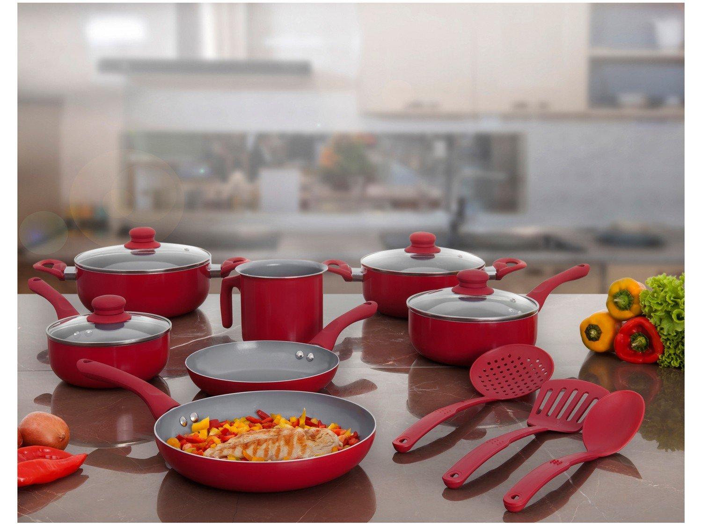 Jogo de Panelas Casambiente Revestimento Cerâmico - de Alumínio Vermelha 10 Peças Sevilla AL091 - 2