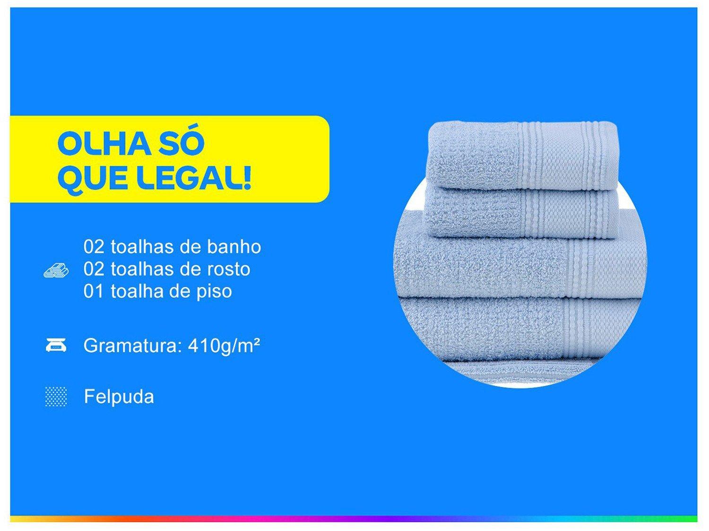 Jogo de Toalhas Felpuda Buddemeyer Novitá - 100% Algodão Azul 5 Peças - 1