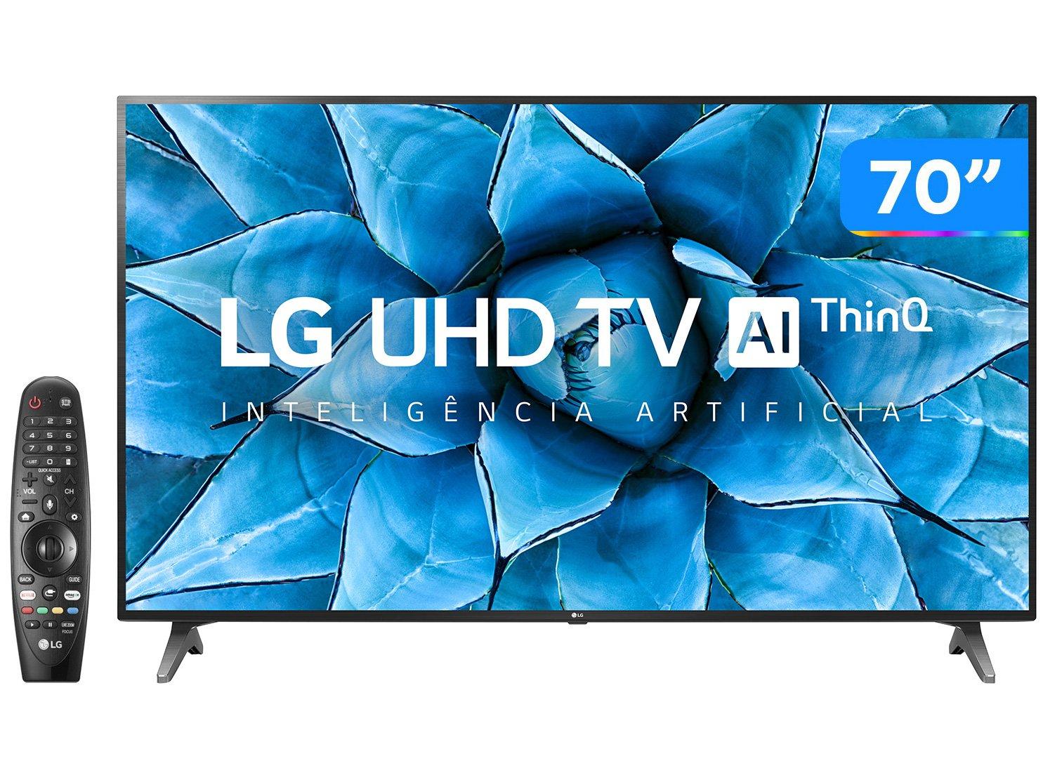 "Smart TV LED 70"" UHD 4K LG 70UN7310PSC com Wi-Fi, Bluetooth, HDR, Inteligência Artificial ThinQ AI, Google Assistente, Alexa, Controle Smart Magic - 1"