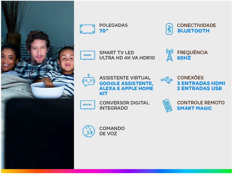 "Smart TV LED 70"" UHD 4K LG 70UN7310PSC com Wi-Fi, Bluetooth, HDR, Inteligência Artificial ThinQ AI, Google Assistente, Alexa, Controle Smart Magic - 3"