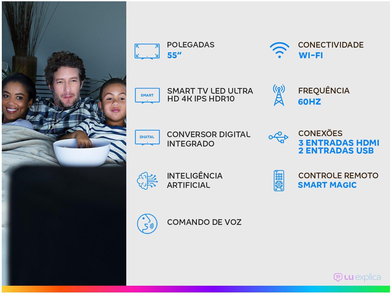 "Smart TV 4K LED IPS 55"" LG 55UN7310PSC Wi-Fi - Bluetooth HDR Inteligência Artificial 3 HDMI 2 USB - Bivolt - 1"
