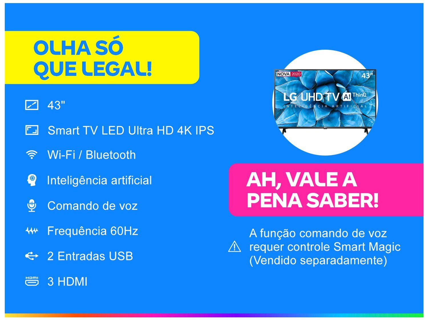 "Smart TV 4K LED IPS 43"" LG 43UN7300PSC Wi-Fi - Bluetooth Inteligência Artificial 3 HDMI 2 USB - Bivolt - 1"