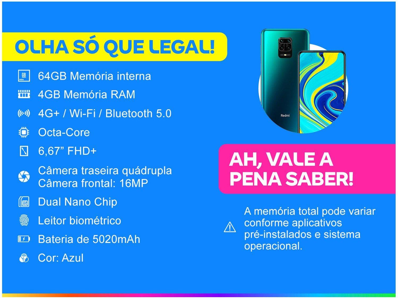 "Smartphone Xiaomi Redmi Note 9S 64GB Azul 4G+ - 4GB RAM Tela 6,67"" Câm. Quádrupla + Selfie 16MP - Bivolt - 1"