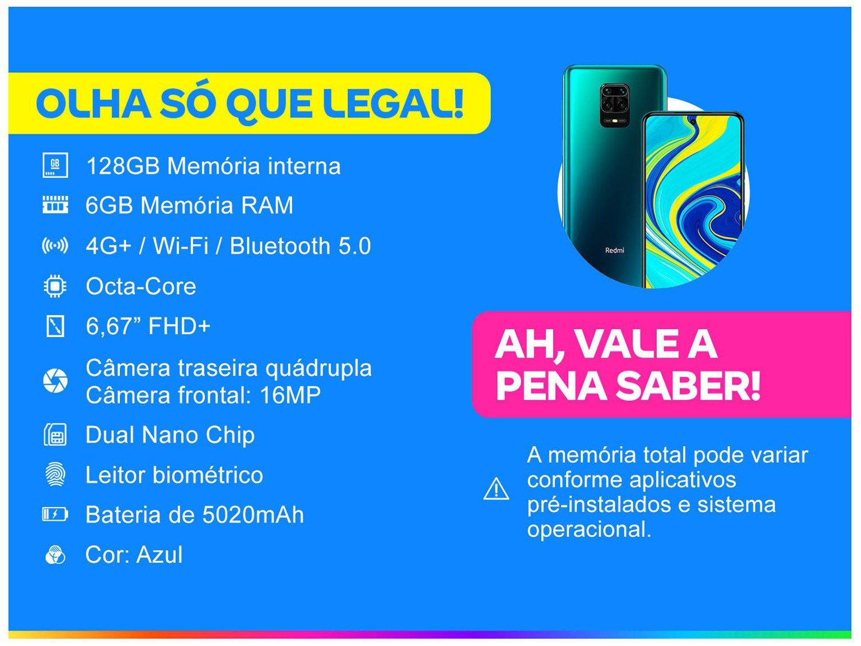 """Smartphone Xiaomi Redmi Note 9S Azul 128GB, Tela de 6,67"""", 6GB de RAM, Câmera Traseira Quádrupla, Android 10 e Processador Qualcomm Octa-Core - 3"""