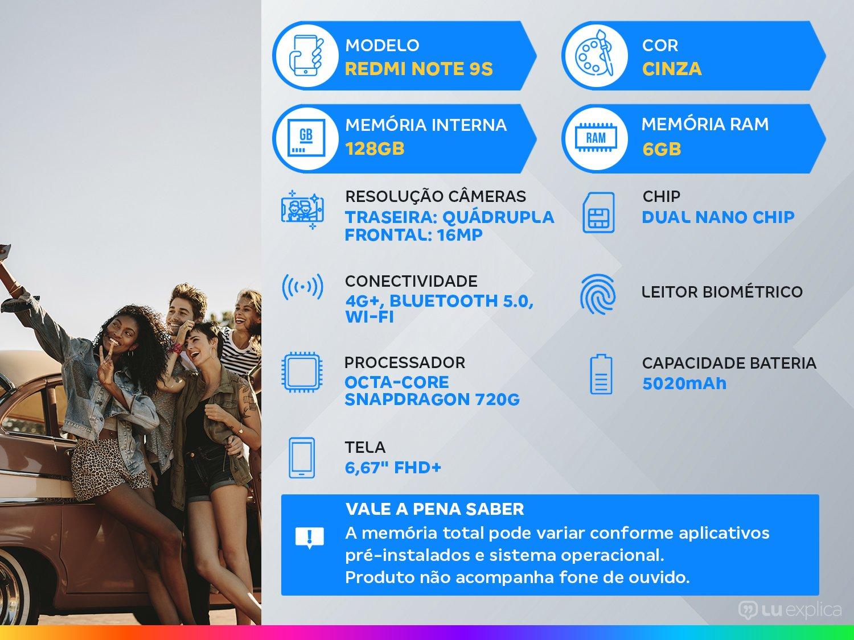 """Smartphone Xiaomi Redmi Note 9S Cinza 128GB, Tela de 6,67"""", 6GB de RAM, Câmera Traseira Quádrupla, Android 10 e Processador Qualcomm Octa-Core - 3"""