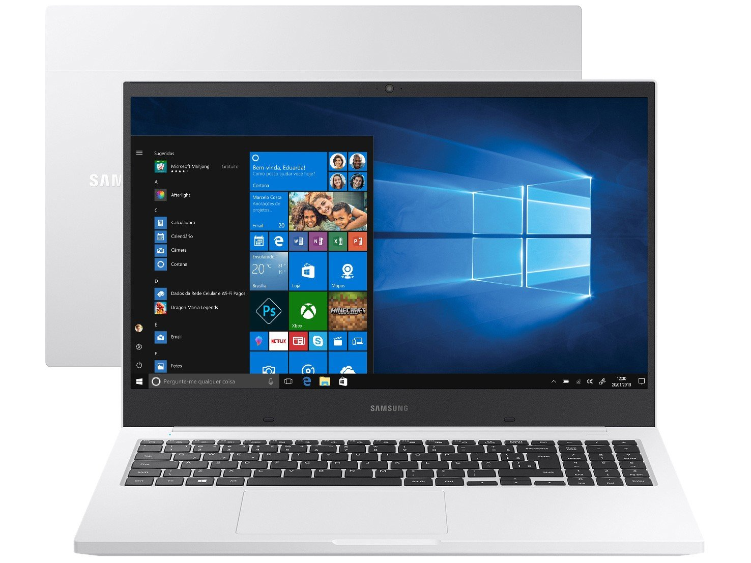 Notebook Samsung Book E30 Intel Core i3-10110U 10ª Geração 4GB 1TB 15.6`` Windows 10 Home NP550XCJ-KT2BR – Branco - 1