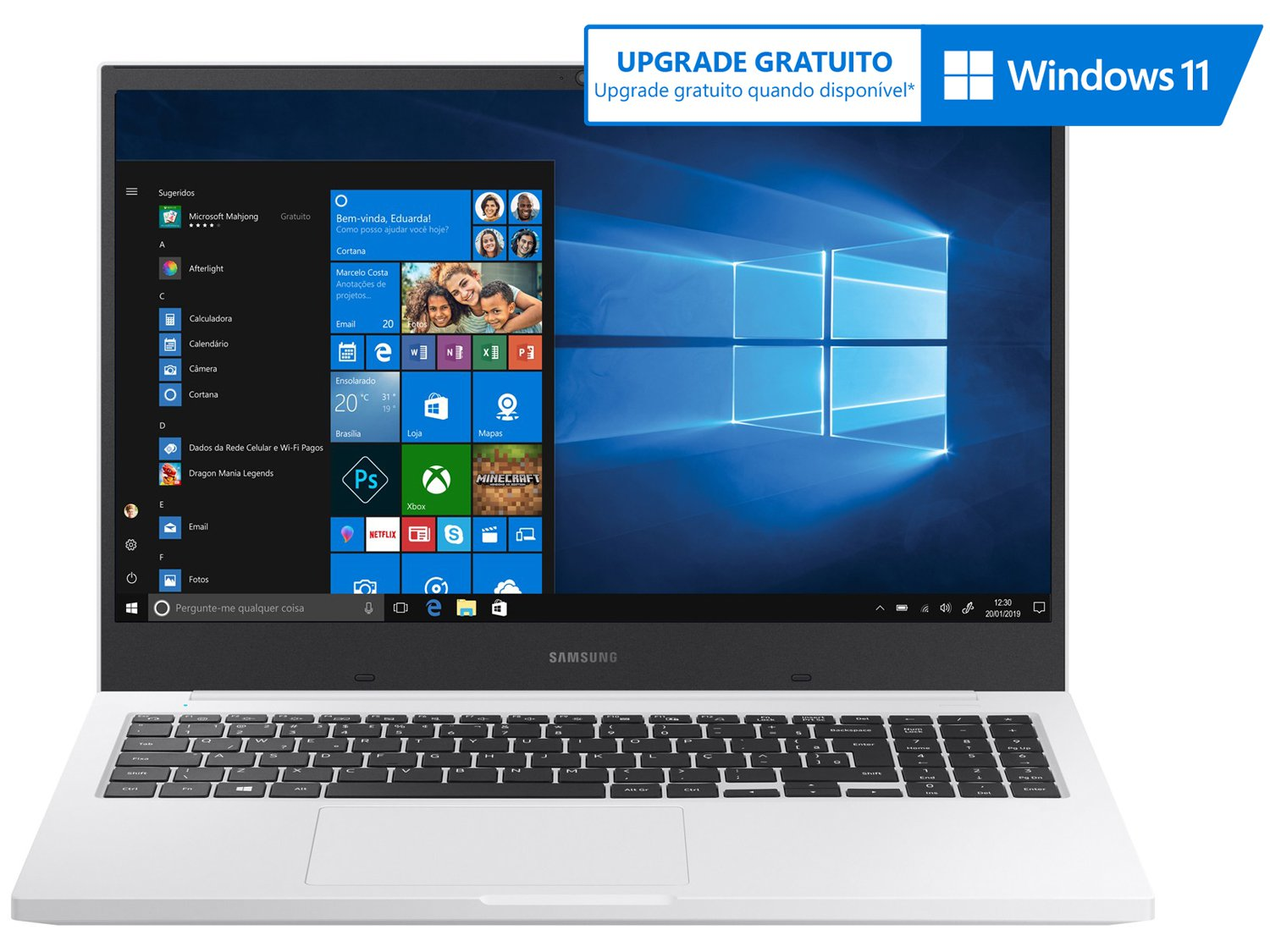 Notebook Samsung Book E30 Intel Core i3-10110U 10ª Geração 4GB 1TB 15.6`` Windows 10 Home NP550XCJ-KT2BR – Branco - 3