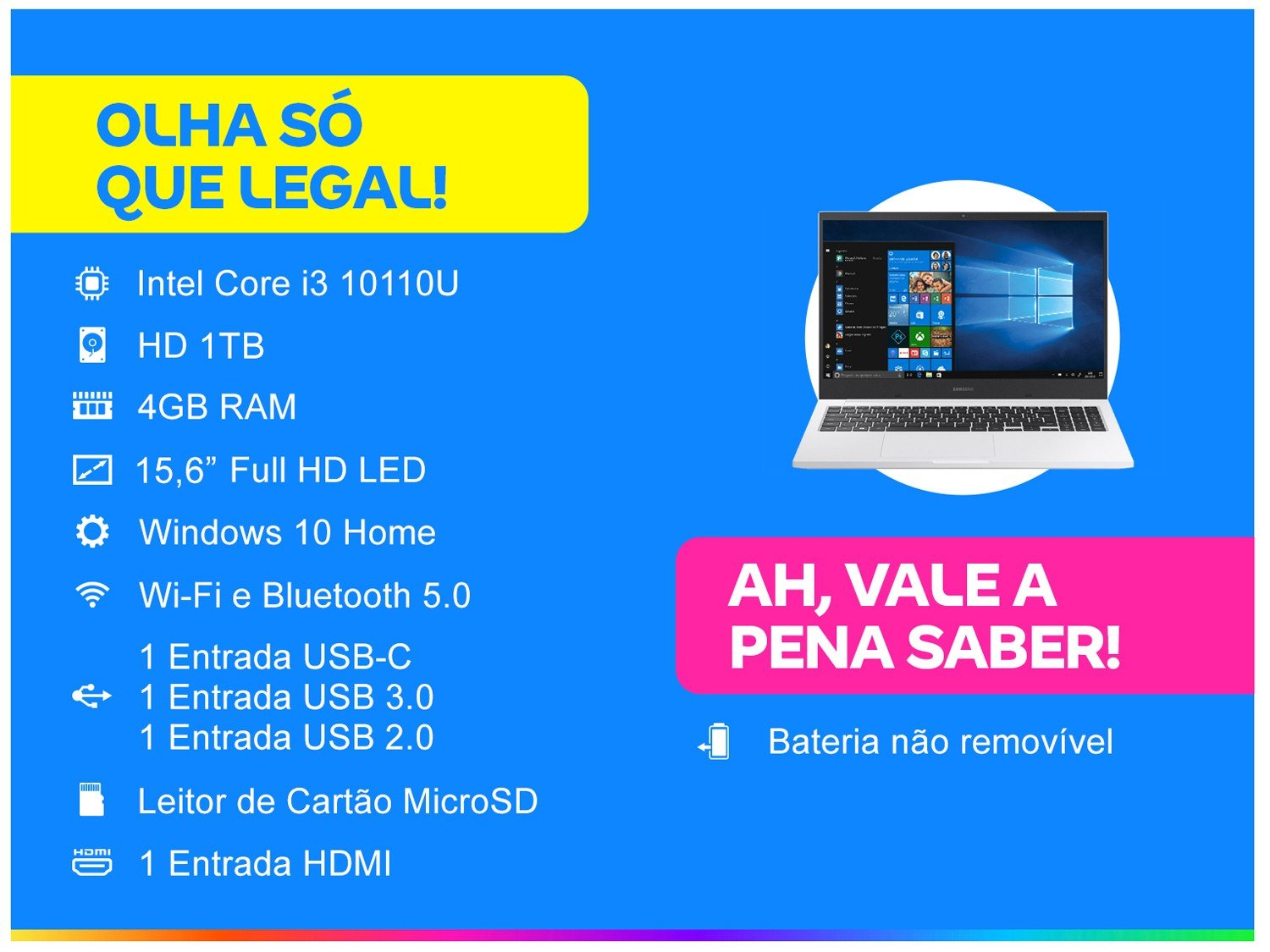 Notebook Samsung Book E30 Intel Core i3-10110U 10ª Geração 4GB 1TB 15.6`` Windows 10 Home NP550XCJ-KT2BR – Branco - 5