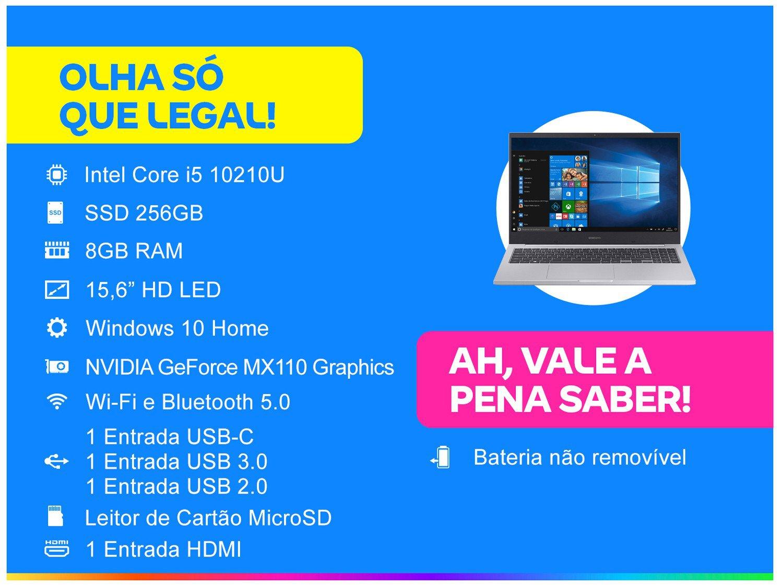 "Notebook Samsung Book X45 Intel Core i5 8GB - 256GB SSD 15,6"" Placa de Vídeo 2GB Windows 10 - Bivolt - 1"
