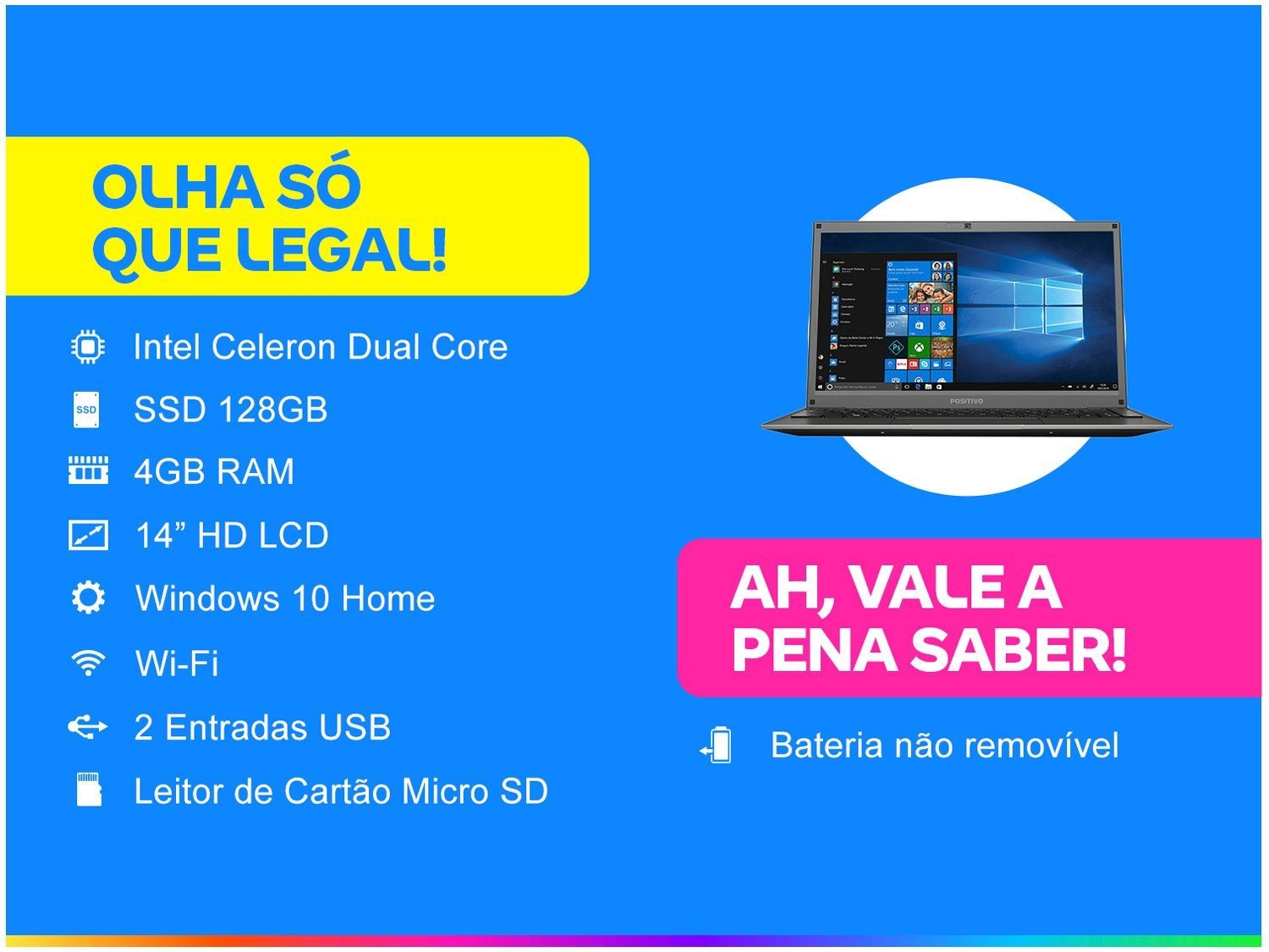 "Notebook Positivo Motion C4128D Intel Celeron - Dual Core 4GB 128GB SSD 14"" Windows 10 - Bivolt - 1"