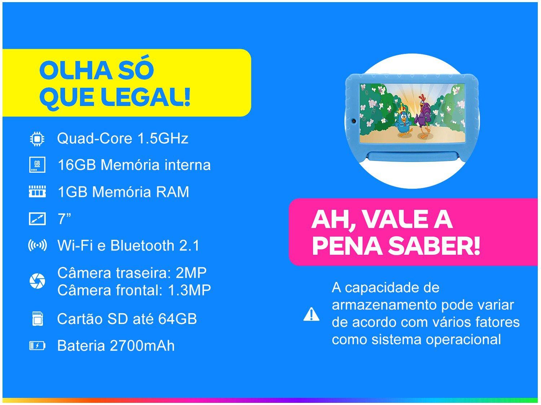 Tablet Infantil Multilaser Galinha Pintadinha 16Gb Dual Câm Android - 1