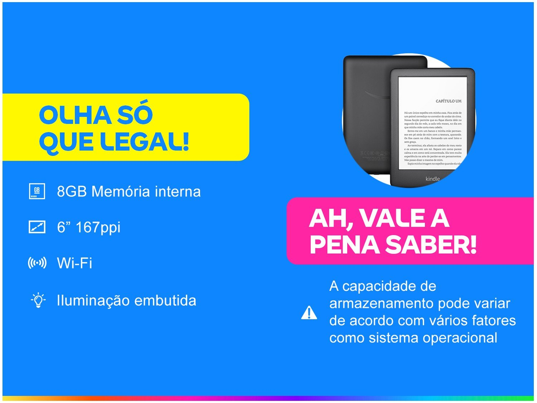 """Kindle 10ª Geração Tela 6"""" 8GB Wi-Fi Luz Embutida - Preto - Bivolt - 1"""