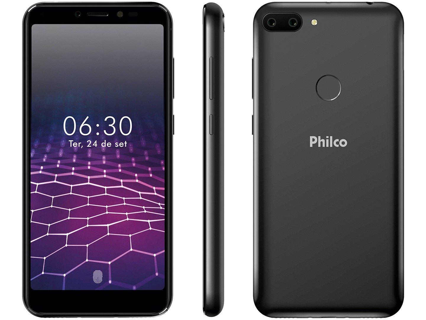 """Smartphone Philco PCS01 64GB Preto 4G Octa-Core - 4GB RAM Tela 5,45"""" Câm. Dupla + Selfie 5MP"""