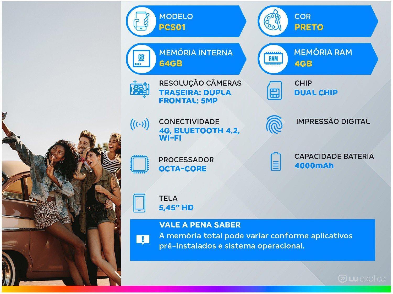 """Smartphone Philco PCS01 64GB Preto 4G Octa-Core - 4GB RAM Tela 5,45"""" Câm. Dupla + Selfie 5MP - 1"""