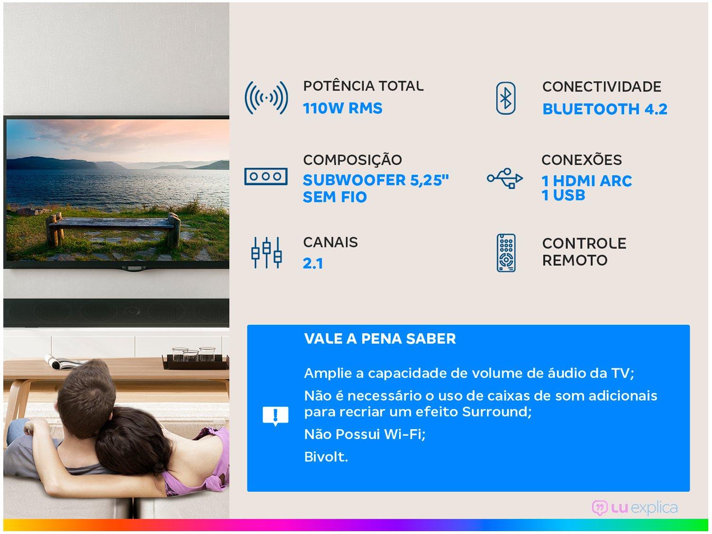 Soundbar JBL com Subwoofer Wireless Bluetooth - 220W 2.1 Canais SB160 - 1