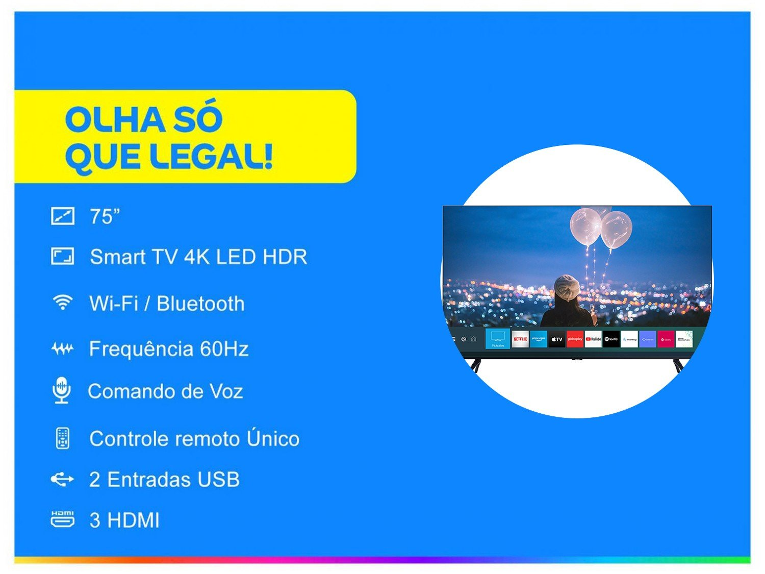 "Smart TV 4K LED 75"" Samsung UN75TU8000GXZD - Wi-Fi Bluetooth HDR 3 HDMI 2 USB - Bivolt - 1"