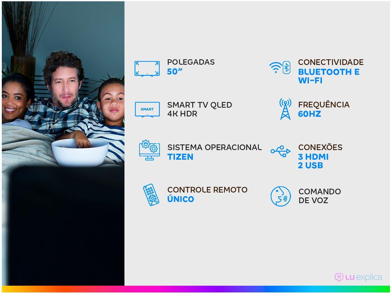 """Smart TV 4K QLED 50"""" Samsung QN50Q60TAGXZD - Wi-Fi Bluetooth HDR 3 HDMI 2 USB - Bivolt - 1"""