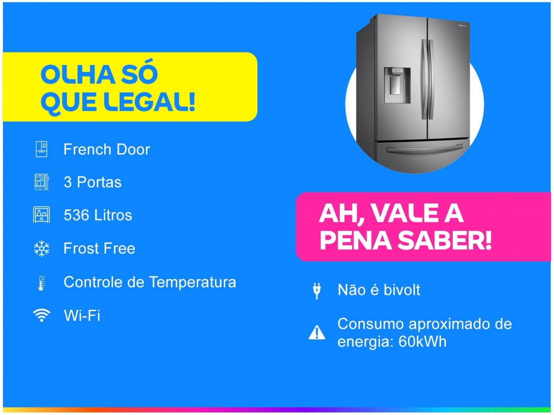 Refrigerador Samsung French Door RF23R com Tecnologia Twin Cooling Plus Inox - 536L - 110v - 7