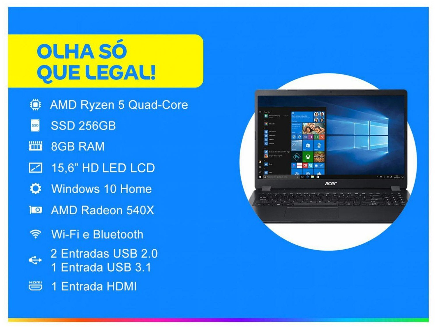 "Notebook Acer Aspire 3 A315-42G-R8LU AMD Ryzen 5 - 8GB 256GB SSD 15,6"" Placa Vídeo 2GB Windows 10 - Bivolt - 1"